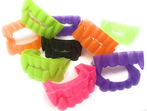 Sea View Treasures 144 Bulk Vampire Teeth Halloween Fangs Assortment (Black, Purple, Green, Hot Pink, Orange, and Glow-in-The-Dark)