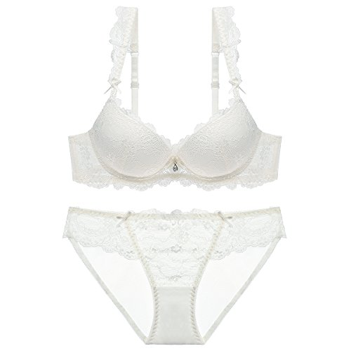 Varsbaby Women's Push up Padded Lace Seduction Underwire Molded Demi Bra (V011CH,34B, White)
