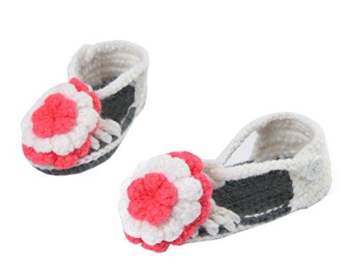 Smile YKK Strickschuh Strick Schuh Baby Unisex süße Stil One-Size 11cm Blume Grau