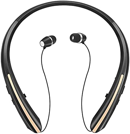 Bluetooth Retractable Headphones, Wireless Earbuds Neckband Headset Noise Cancelling Stereo Earphones (2021 Upgraded, 20 Hours Playtime) (Gold)