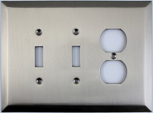 Jumbo Stamped Three Gang Combo Wall Plate - Two Toggle Light Switches One Duplex Outlet