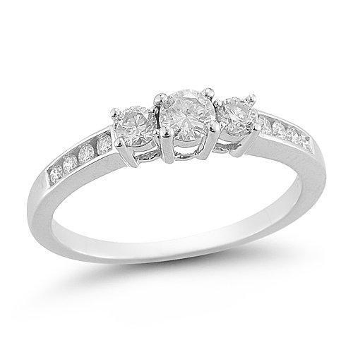 14k White Gold Diamond Engagement Ring (1/2 cttw H-I Color, I1-I2 Clarity), Size 8