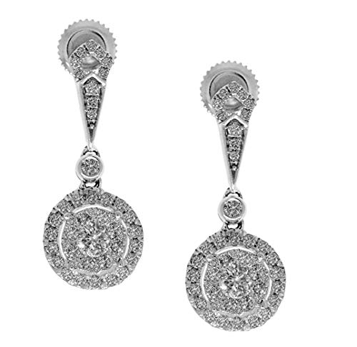 AFJewels 14k White Gold Cluster 1.20 Cttw Diamond Dangling Earrings (SI2- E-F) ()