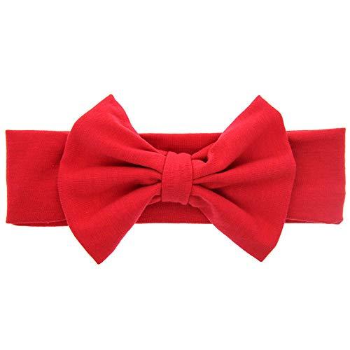 MOPOLIS Baby Girl Kids Cotton Bow Hairband Headband Stretch Turban Knot Head Wrap Bow/EN | Main Colour - Red