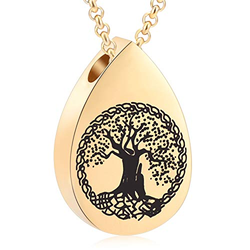 Tree of Life Memorial Ashes Urn Necklaces, Waterdrop Cremation Jewelry Made with Stainless Steel, Keepsake Pendant Locket for Ashes for Women ()