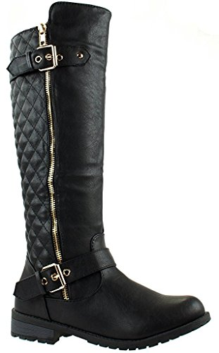 JJF Shoes Forever Mango-21 Women's Winkle Back Shaft Side Zip Knee High Flat Riding Boots