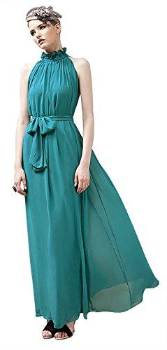 VSVO Women Halter Neck Sleeveless Chiffon Maxi Dresses (One Size, Lake Blue) ()