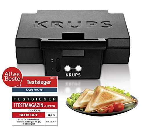 Krups Sandwichmaker FDK451 | für gegrillte Sandwichtoasts in Dreiecksform | Antihaftbeschichtete Platten (Leichte Reinigung, Kein Anbrennen) | Aufheiz- und Temperaturkontrollleuchte | 850W 1