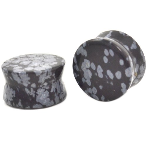 - Pair (2) Snow Flake Obsidian Ear Plugs Double Flared Stone Gauges - 3/4