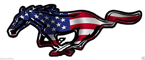 MFX Design Mustang American Horse Flag Sticker Decal Vinyl - Made in USA 4.5 in. x 2 in.