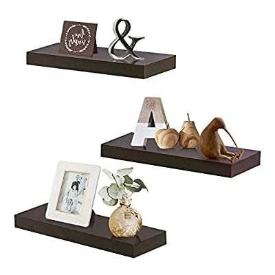 "INART Brown Floating Shelves Storage Shelf Set of 3 Wall Mounted Display Ledge, 5.9"" Deep - DECORATIVE WALL SHELF: Decorative and functional for your home, office, or dorm room; use to display vases, small pictures and more MADE OF LIGHTWEIGHT MATERIALS: Made of lightweight and high quality MDF. These wall shelves are fits in any room WALL MOUNTED SHELF DIMENSION: 14.9 in W x 1.3 in H x 5.9 in D - wall-shelves, living-room-furniture, living-room - 41gAydaGRqL. SS400  -"