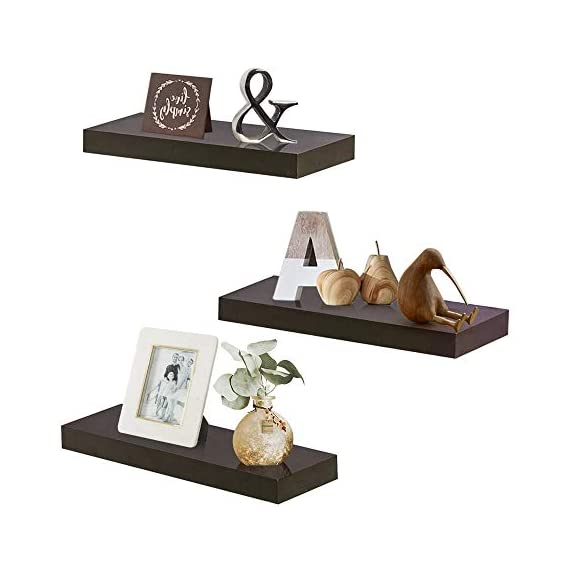 "INART Brown Floating Shelves Storage Shelf Set of 3 Wall Mounted Display Ledge, 5.9"" Deep - DECORATIVE WALL SHELF: Decorative and functional for your home, office, or dorm room; use to display vases, small pictures and more MADE OF LIGHTWEIGHT MATERIALS: Made of lightweight and high quality MDF. These wall shelves are fits in any room WALL MOUNTED SHELF DIMENSION: 14.9 in W x 1.3 in H x 5.9 in D - wall-shelves, living-room-furniture, living-room - 41gAydaGRqL. SS570  -"