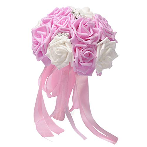 - BROSCO Bridal Wedding Roses Flower Bouquet Wedding Venue Decoration Pink | Color - Pink