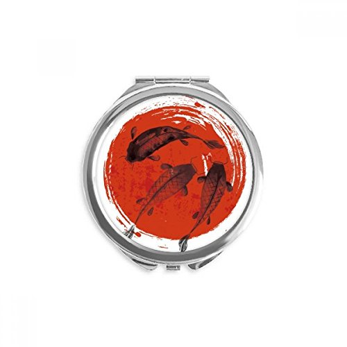 Japan Red Carp Animal Abstract Mirror Round Portable Hand Pocket ()
