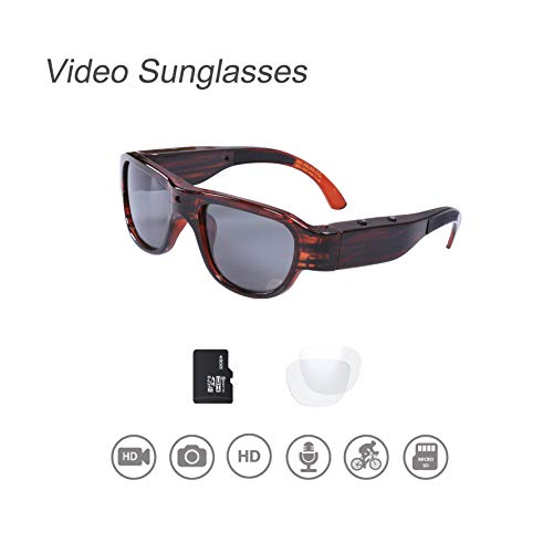 Video Sunglasses, 32GB 1080P HD Outdoor Sports Action Camera with Built in 15MP Camera and Polarized UV400 Lens, Compatible with Prescription Lens and Interchangeable Lens
