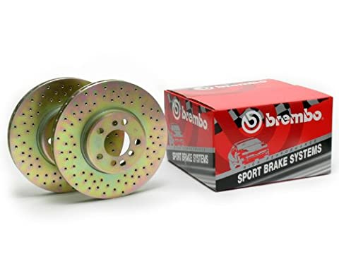 Brembo Sport Cross Drilled Front Rotors Ford Mustang GT 05-10 / Shelby 07-08 - Brembo Sport Cross Drilled Brake