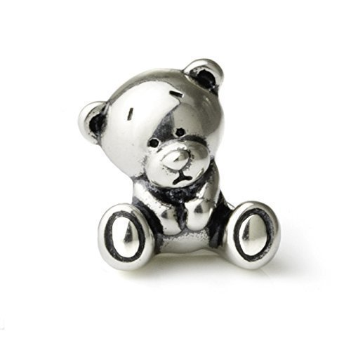 Teddy Bear Sterling Silver Charm Bead S925, Cute Teddy Bear Cub Silver Charm Pendant, Romantic Love Bear Charm, Silver Animal Necklace, Pandora compatible