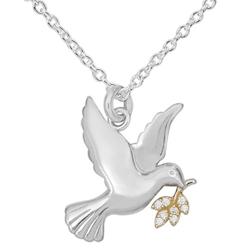 """Hallmark Jewelry Women's Sterling Silver Dove with Clear Cubic Zirconia Leaf Pendant Necklace, 18"""""""