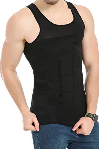 JQAmazing Mens Slimming Body Shaper Vest Abdomen Slim Shirt Compression Tank Shaperwear(Medium,Black)