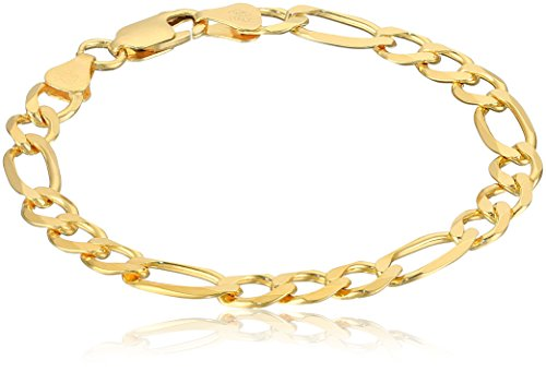 Gold Plated Sterling Silver Open Figaro Chain Link Bracelet, (Open Figaro Chain)