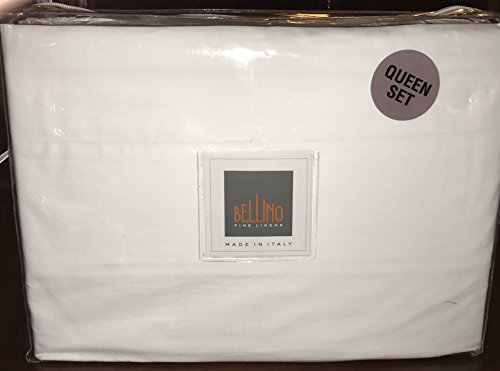 Bellino Fine Italian QUEEN Sheet Set - 100% percale cotton (white) ()