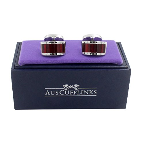 Ruby Stone Red Cufflinks | Wedding Anniversary Gift | Cuff Links Gift for Men | 5 Yr Warranty by AUSCUFFLINKS (Image #1)