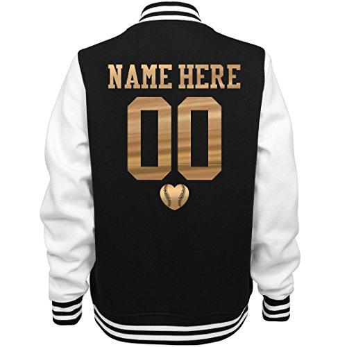 Metallic Custom Baseball Girlfriend: Ladies Fleece Letterman Varsity Jacket ()