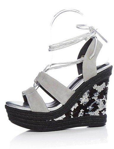 LFNLYX Zapatos de mujer-Tacón Cuña-Cuñas / Punta Abierta / Talón Descubierto-Sandalias-Exterior / Vestido / Casual-Ante-Negro / Gris Black