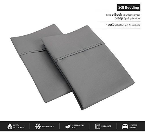 SGI bedding 600 Thread Count 100% Egyptian Cotton King Size Pillowcase 20X40 Dark Grey Solid (Pack of 2)