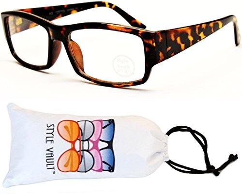 V3032-vp Style Vault Rectangular Clear Lens Eyeglasses Sunglasses (B1641F Tortoise Brown-Clear, clear)