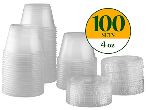 Plastic Disposable Portion Cups Souffle Cups with Lids (Pack of 100, 4 oz)
