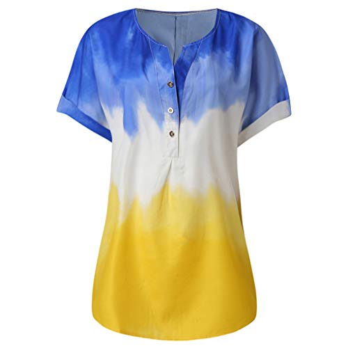 〓COOlCCI〓Women Summer Casual V Neck Blouses Loose Tunic Short Sleeve Tops Button Down Shirt,Tie Dye Tops Tees Blue