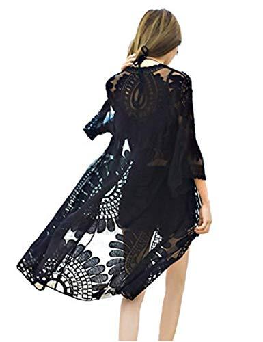 - QIUYEJUO Women's Crochet Floral Lace Swimsuit Beach Cover Up Long Vintage Kimono Cardigan Dress