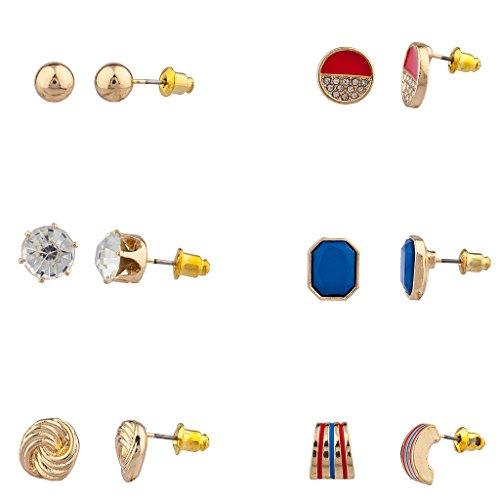 Pave Ring Enamel Tone Two (Lux Accessories July 4th Independence Day Love knot Multi Earring Set (6Pc))