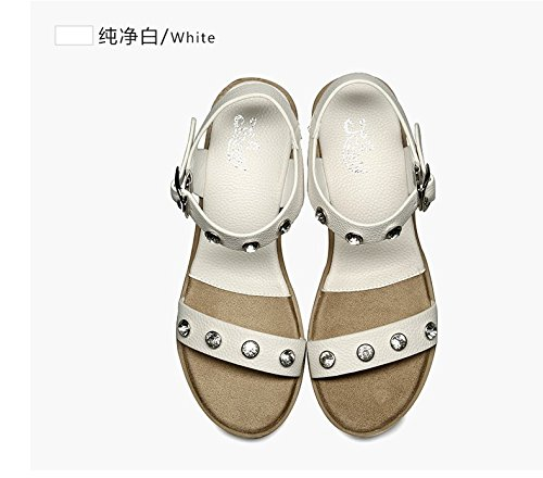 Xing Lin Ladies Sandals Summer Casual New High-Heeled Casual Shoes With Sandals With Toe Toe Shoes White