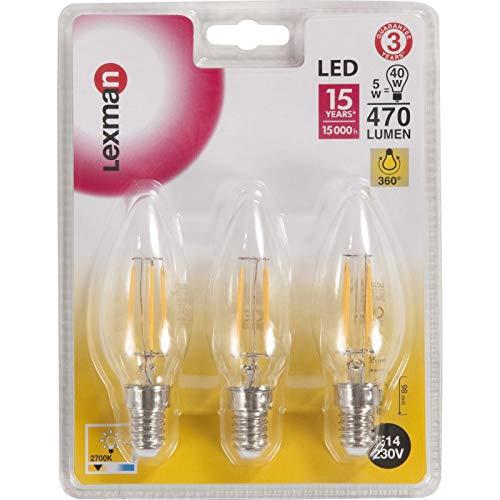 lexman - Bombilla filamento llama LED 5 W (équiv 40 W) E14 2700 K: Amazon.es: Iluminación