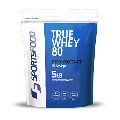 Concentré de protéines de lactosérum vrai 80 alimentaire, 80 % de protéines, glucides faible & Fat, BCAA ajoutés (Triple chocolat, 5 lb) de sport