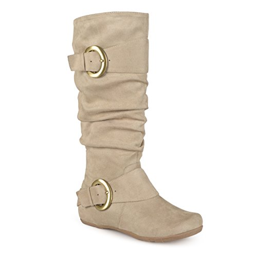 Boots Suede Calf Slouch Buckle Journee Womens Wide Stone Knee Extra Collection High wfAHz