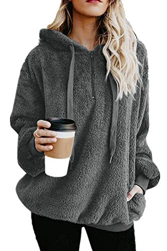 ReachMe Womens Sherpa Pullover Fuzzy Fleece Sweatshirt Oversized Hoodie Pockets(Dark Grey,XL)