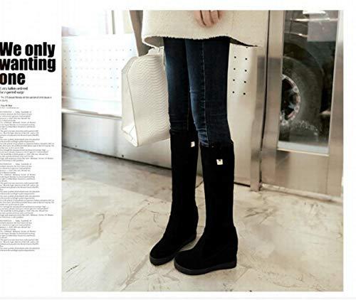 Largas E Otoño De 39 Gruesas Altas 34 Las Rodilla Invierno En La Xdx Altas Mujer botas Botas Negro Sobre aumento Un15awxgW