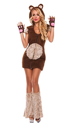 [Starline Women's Cuddle Me Bear 3 Piece Costume Set, Brown, Large] (Bear Halloween Costume Women)