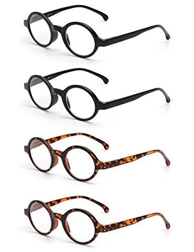 (JM Set of 4 Round Reading Glasses Spring Hinge Readers Men Women Glasses for Reading +0.75 Black & Tortoise)