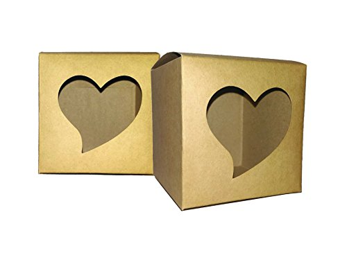 20Pcs Gift Boxes Heart Shape Eco-Friendly Kraft Paper Love Window to Show for Party, Wedding, Birthday Decorations - 3.5x3.5x3.5 Inches