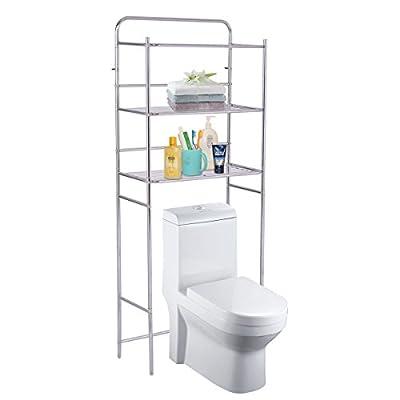 Tangkula 3-Tier Bathroom Space Saver Chrome Over The Toilet Shelf Organizer