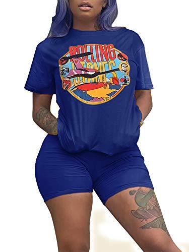 (Women Cartoon Loose Fit Short Sleeve Tops Skinny Short Jumpsuit Tracksuit Set Loungewear Workout 2 Piece Set Blue S )
