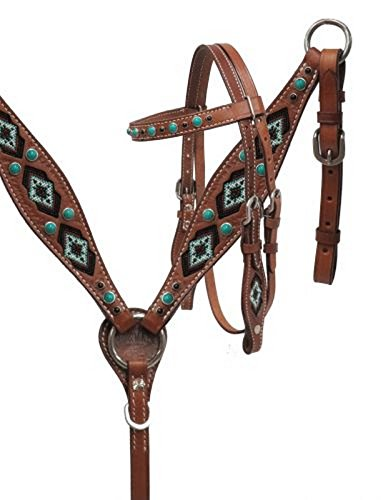 Showman MiniレザーBridle and Breast襟セットW Teal Beaded Inlay   B01N59CFRZ