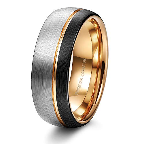 How To Clean Tungsten Carbide Rings - Tungary 8MM Tungsten Carbide Ring for Men Wedding Band Rose Gold Line Ring Black and Silver Brushed Size 13