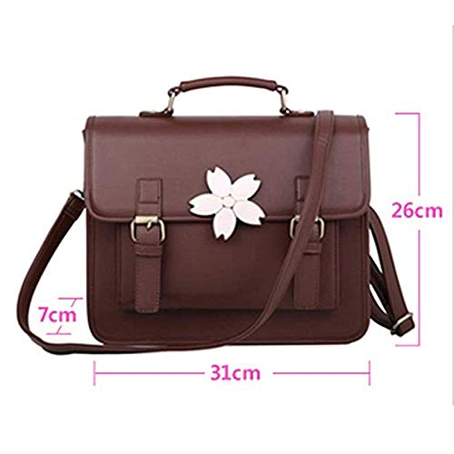 Alltid insistera på framgång flicka ryggsäck retro handväska flicka axel tidvatten kvinnligt mode portfölj kvinnors ryggsäck (färg: Brun) Brun