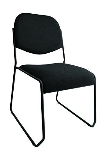 Chair Macro Fabric - Marco Group 615 Padded Sled Base Chair, Black Fabric, 4 Per Carton