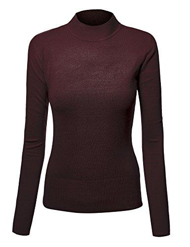 MBJ WSK783 Womens Mod Mock-Neck Sweater L (Cotton Silk Mock Turtleneck)